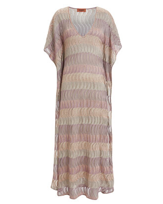 Metallic Stripe Kaftan, BLUSH/GOLD, hi-res