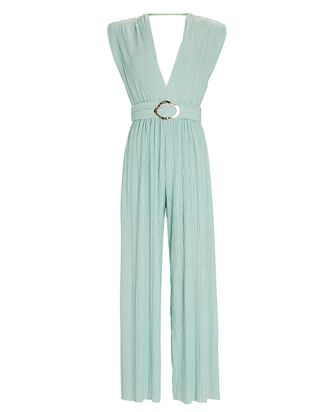 Galliano Belted Sleeveless Jumpsuit, LIGHT GREEN, hi-res