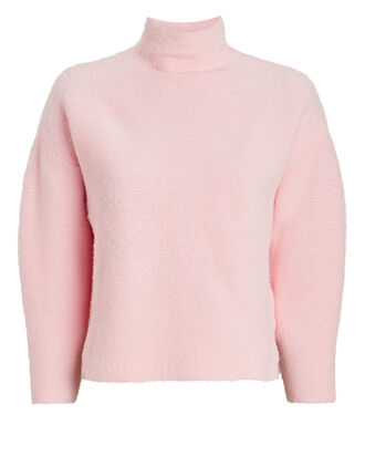 Fuzzy Mock Neck Sweater, PALE PINK, hi-res