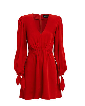 Joplin Gathered Crepe Mini Dress, RED, hi-res