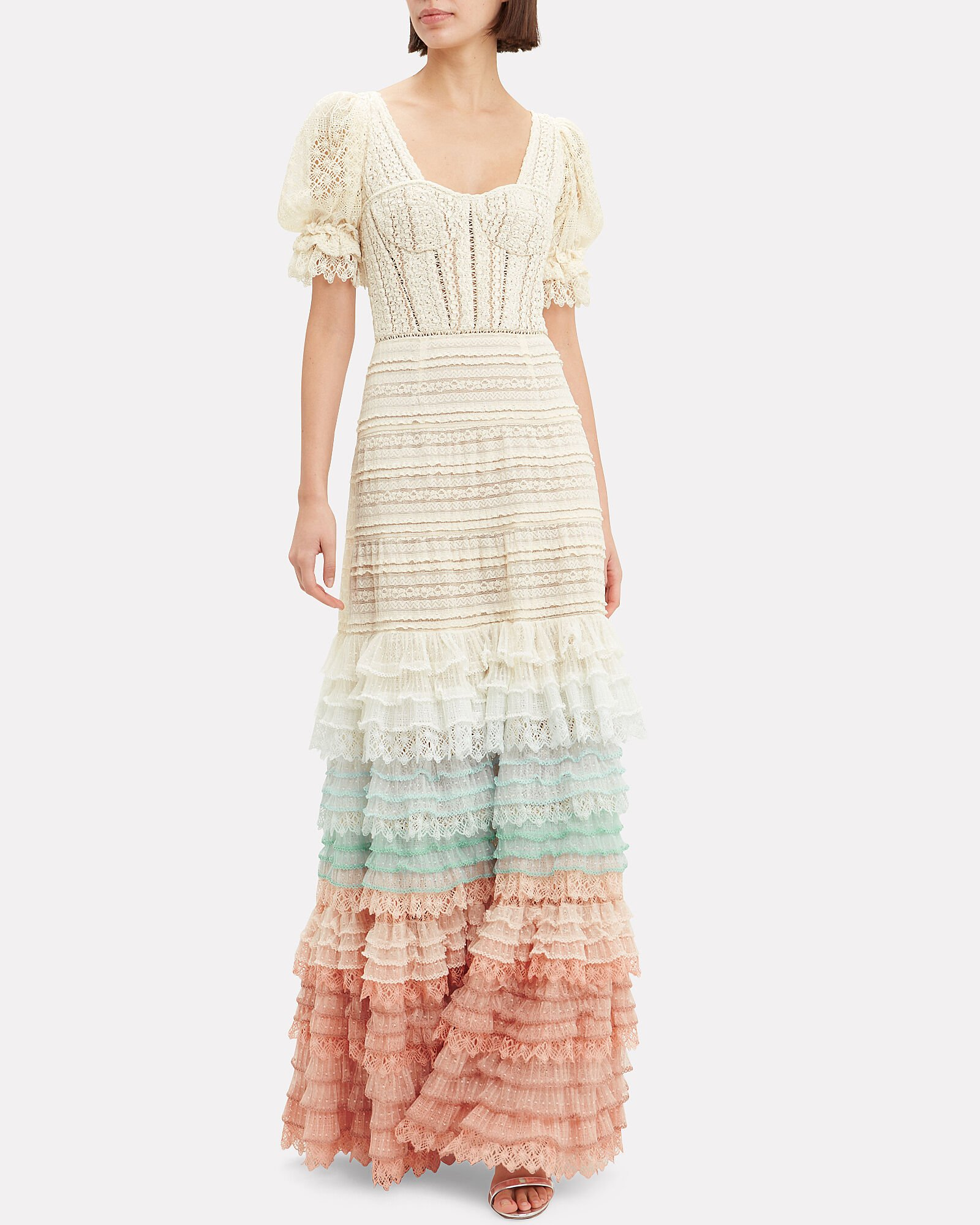Mixed Lace Bustier Maxi Dress, IVORY, hi-res