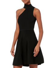 Vika One Shoulder Knit Dress, BLACK, hi-res