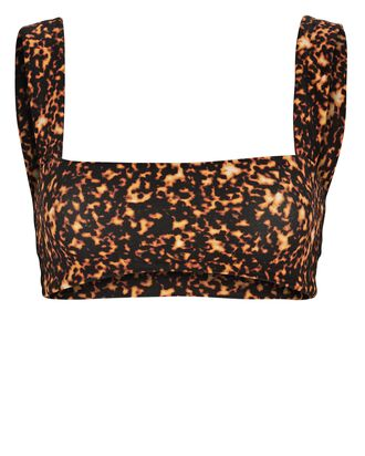 Printed Bandeau Bra Top, ORANGE/BLACK, hi-res