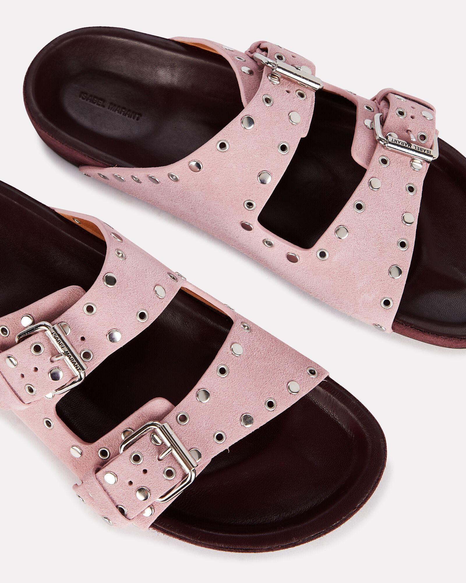 Lennyo Suede Slide Sandals, PINK, hi-res