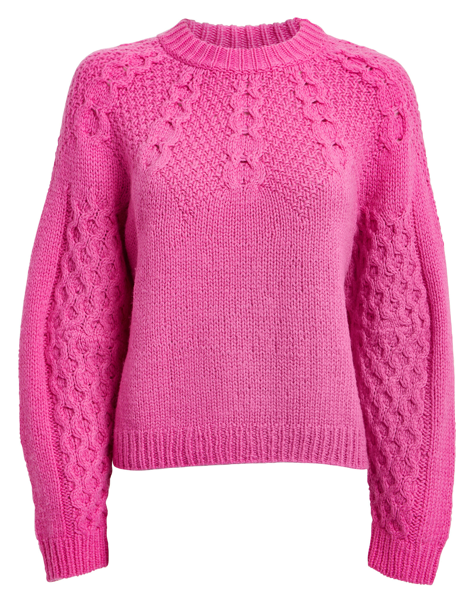 Bric Mohair Wool Honeycomb Sweater, PINK, hi-res