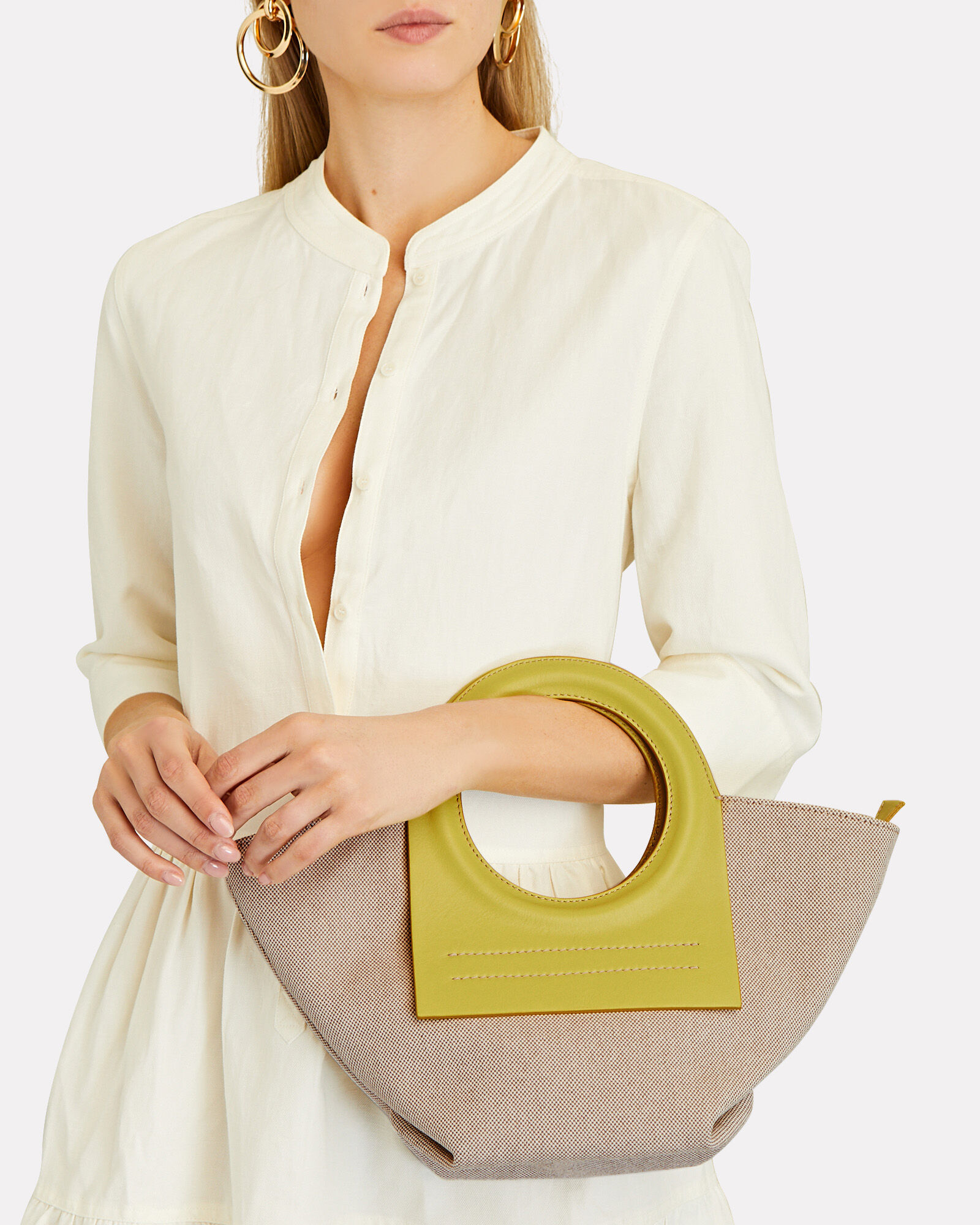 Cala Mini Leather-Trimmed Canvas Tote, BEIGE, hi-res