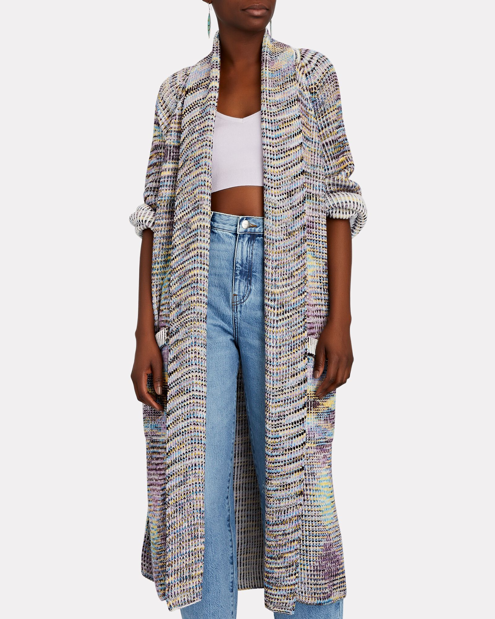 Space Dyed Wool-Cashmere Duster Cardigan, MULTI, hi-res