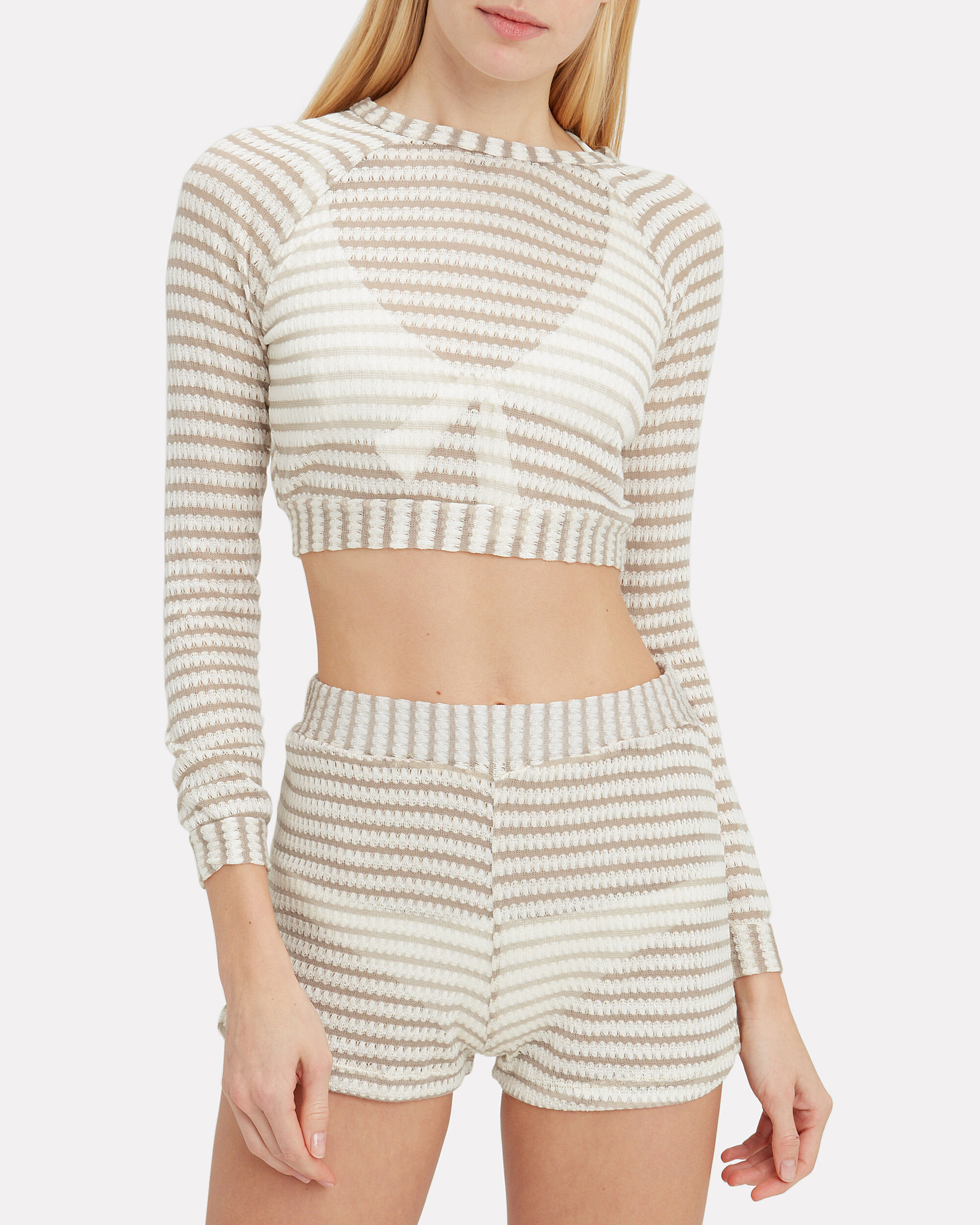 Sunny Knit Sweater, WHITE/TAUPE, hi-res