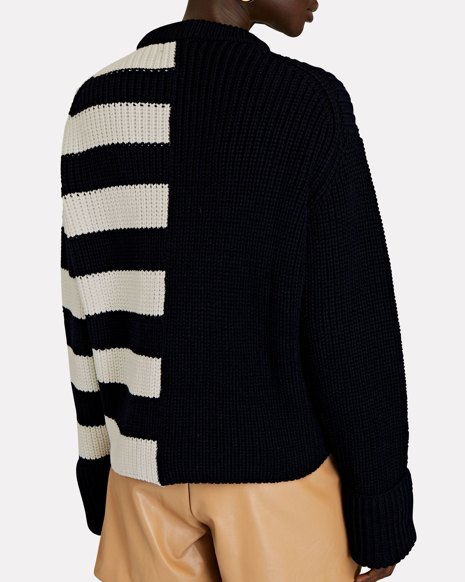 Striped Cable Knit Merino Wool Sweater, NAVY, hi-res