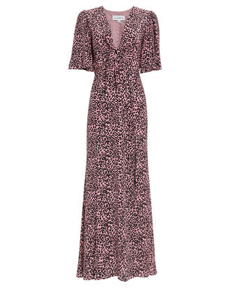 Tie Front Leopard Silk Dress, PINK/LEOPARD, hi-res