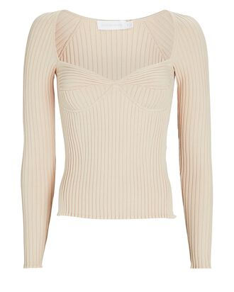 Sammy Bustier Rib Knit Top, BEIGE, hi-res