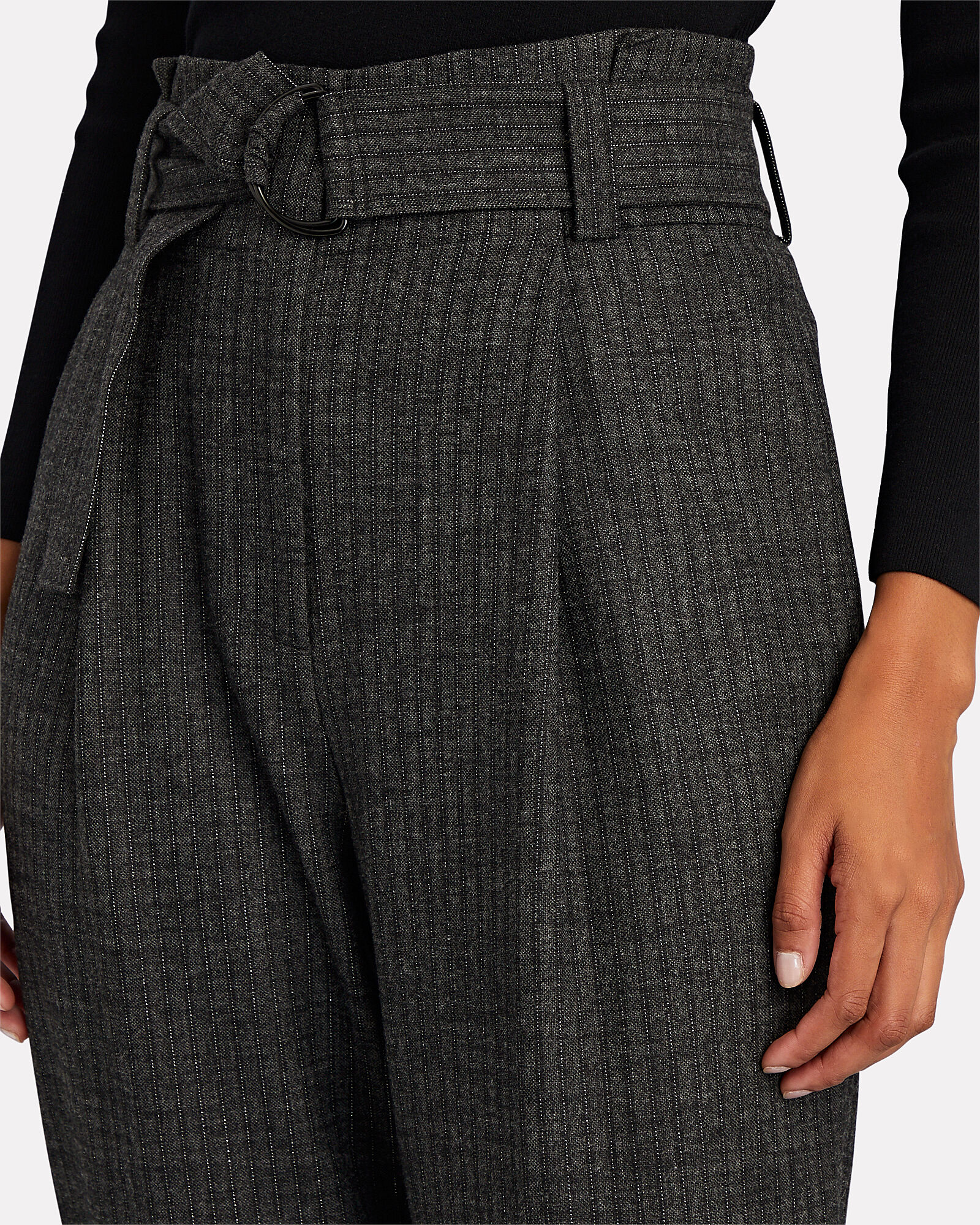 Diego Tapered Paperbag Trousers, GREY, hi-res