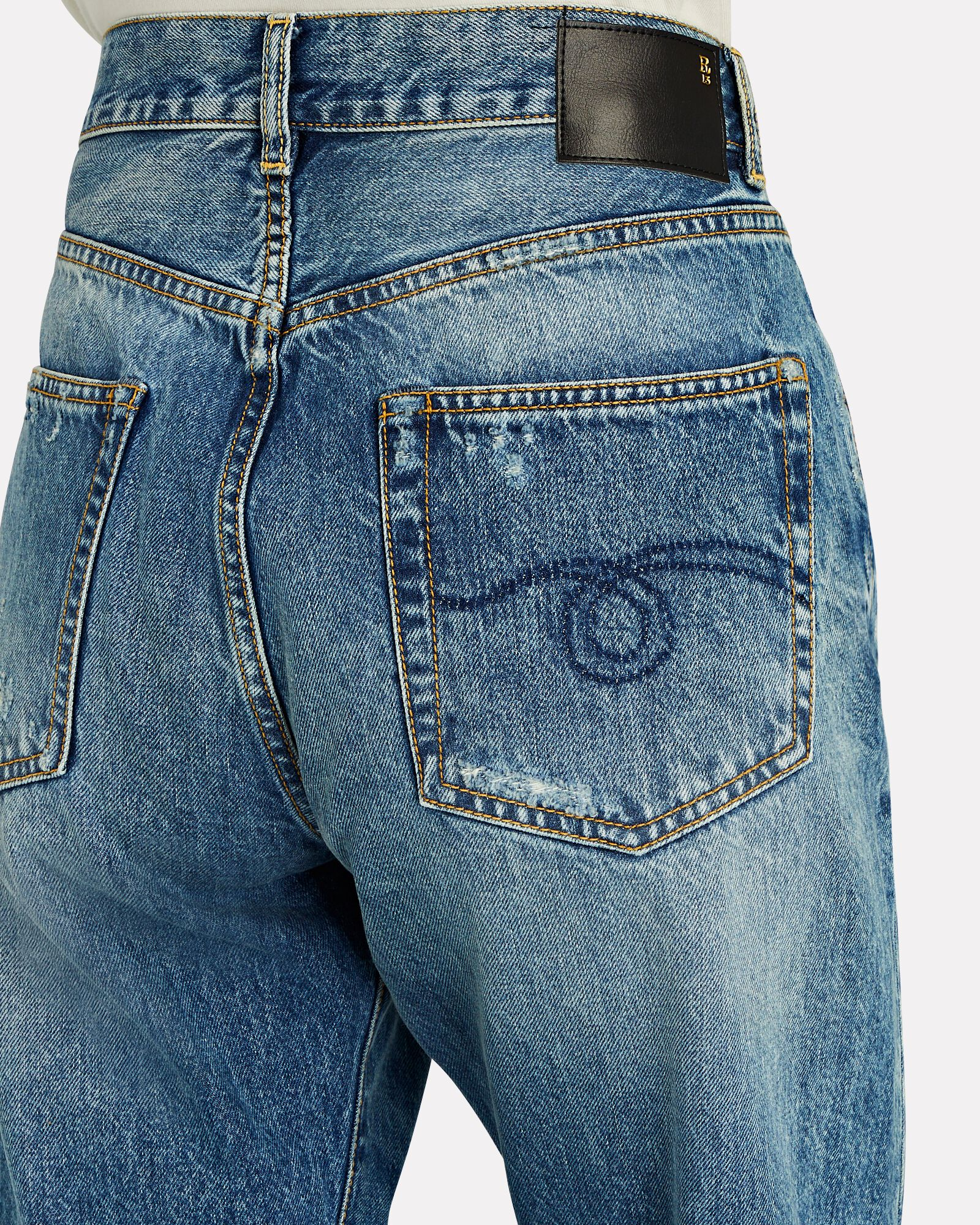 Boyfriend Distressed Jeans, BAIN WITH RIPS, hi-res