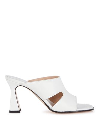 Marie Leather Slide Sandals, WHITE, hi-res