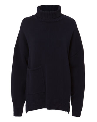 Patch Pocket Cashmere Turtleneck, NAVY, hi-res