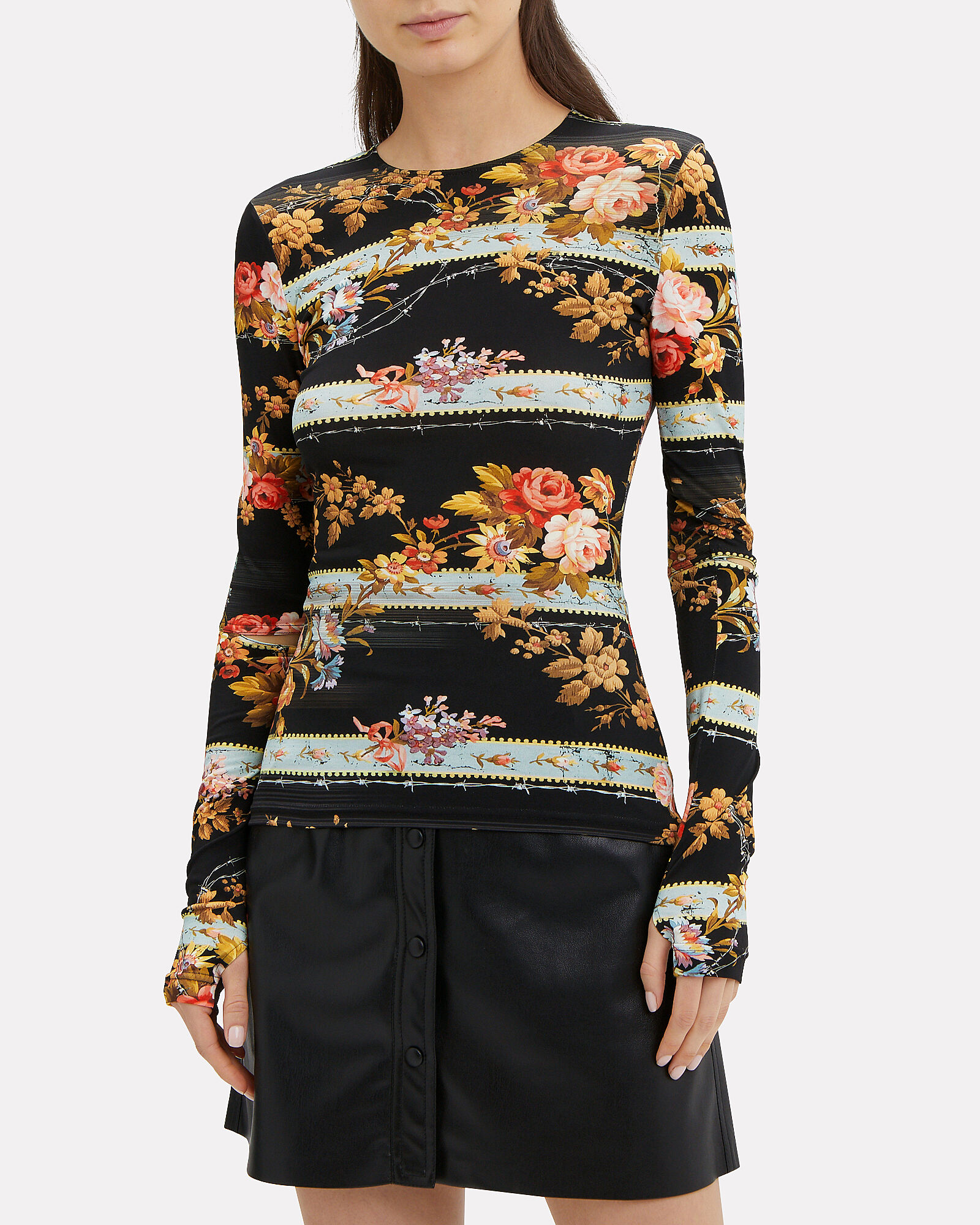 Ida Floral Slash Sleeve Top, MULTI, hi-res