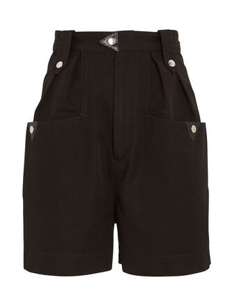 Palino High-Rise Cotton Shorts, BLACK, hi-res
