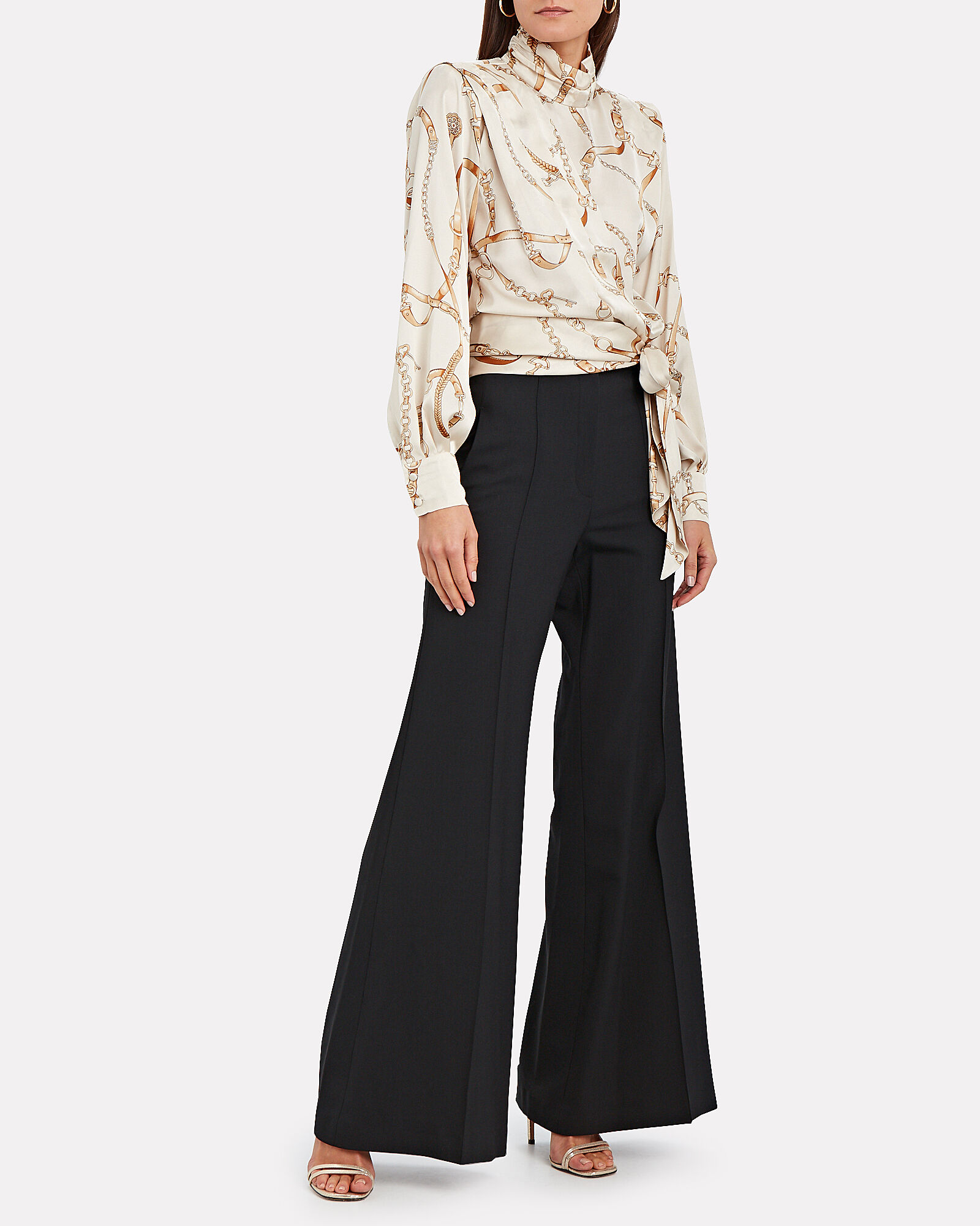 Lincoln High-Waist Flared Trousers, BLACK, hi-res