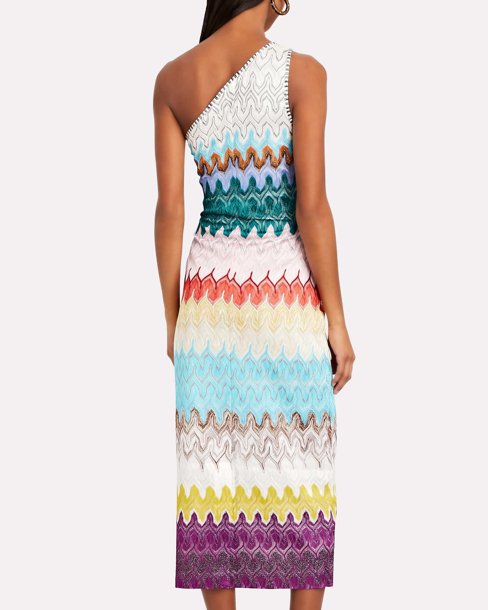 One-shoulder Rainbow Wave Midi Dress, MULTI, hi-res