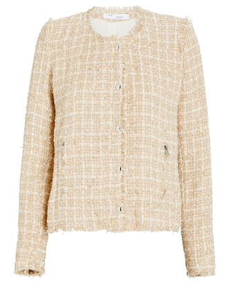 Capri Collarless Tweed Jacket, BEIGE, hi-res