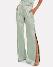 High-Rise Satin Trousers, OLIVE/ARMY, hi-res
