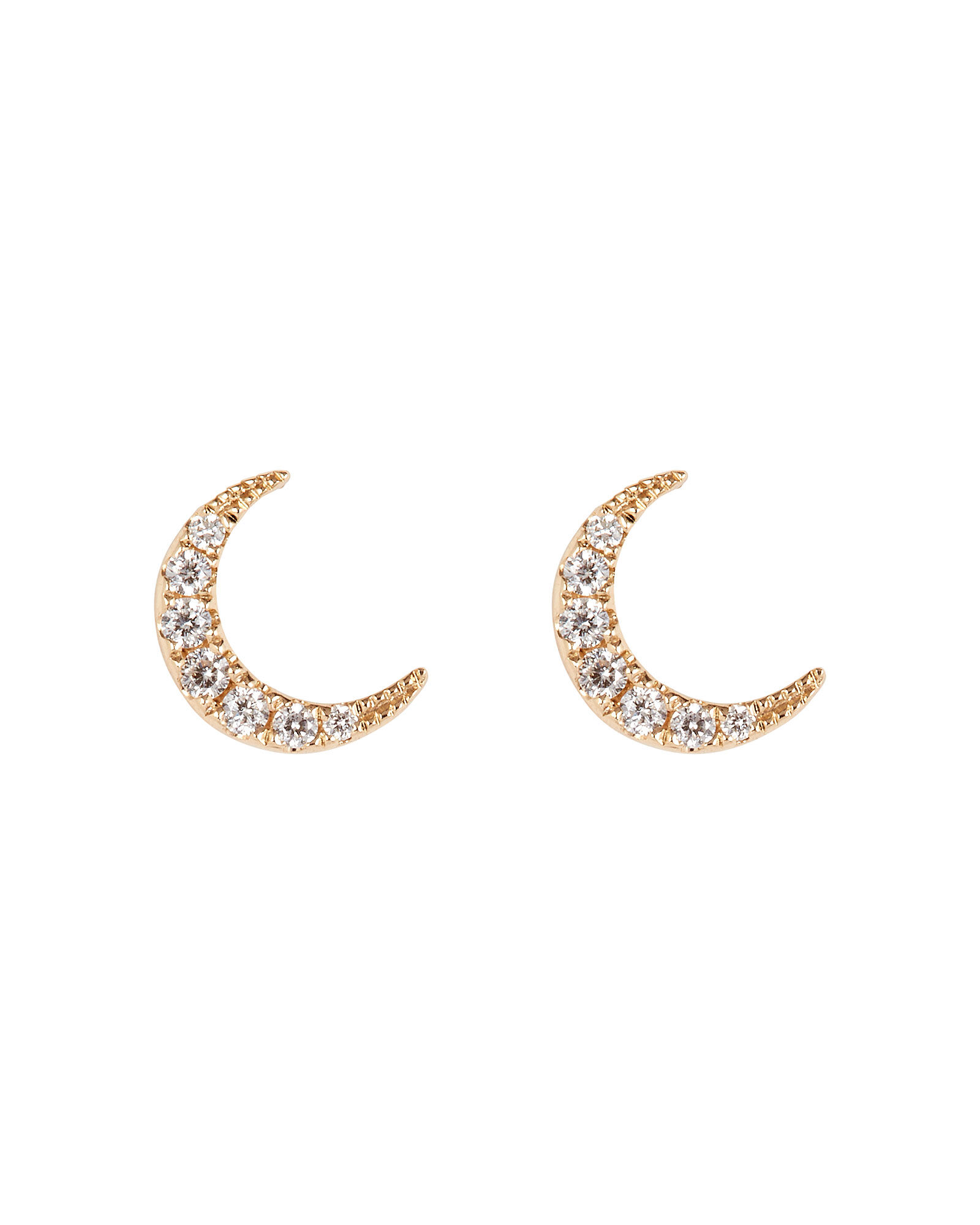 Mini Diamond Moon Studs, GOLD, hi-res