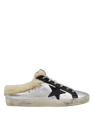 Superstar Sabot Shearling Sneakers, SILVER, hi-res