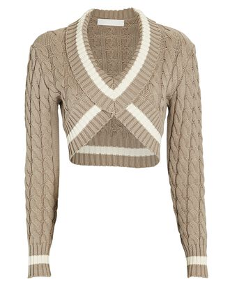 Cropped Cable Knit Varsity Sweater, GREY, hi-res