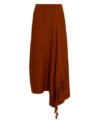 Grace Draped Fringe Midi Skirt, BROWN, hi-res