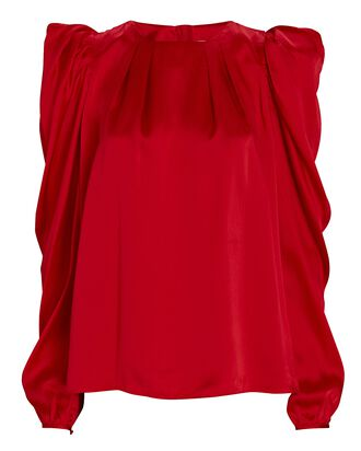 Oxidised Puff Sleeve Silk Blouse, RED, hi-res