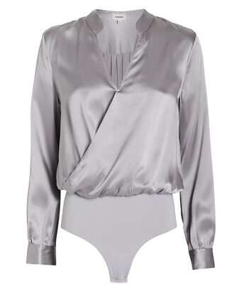 Marcella Silk Charmeuse Bodysuit, GREY, hi-res