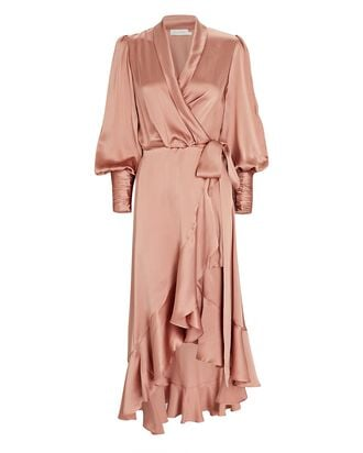 Silk Midi Wrap Dress, BLUSH, hi-res