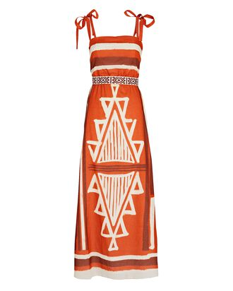 Religions of Myths Printed Cotton Dress, Red/White/Brown, hi-res