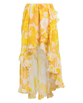 Adelle Ruffled High-Low Skirt, IVORY/YELLOW, hi-res