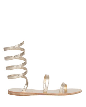 Ofis Ankle Wrap Leather Sandals, PLATINUM, hi-res