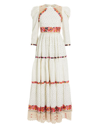 Salma Embroidered Dress, WHITE/PINK/RED FLORAL, hi-res