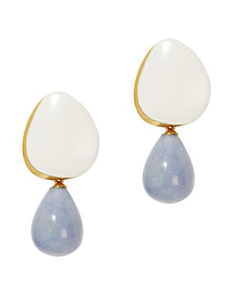 Cream Painted Drop Earrings, IVORY, hi-res