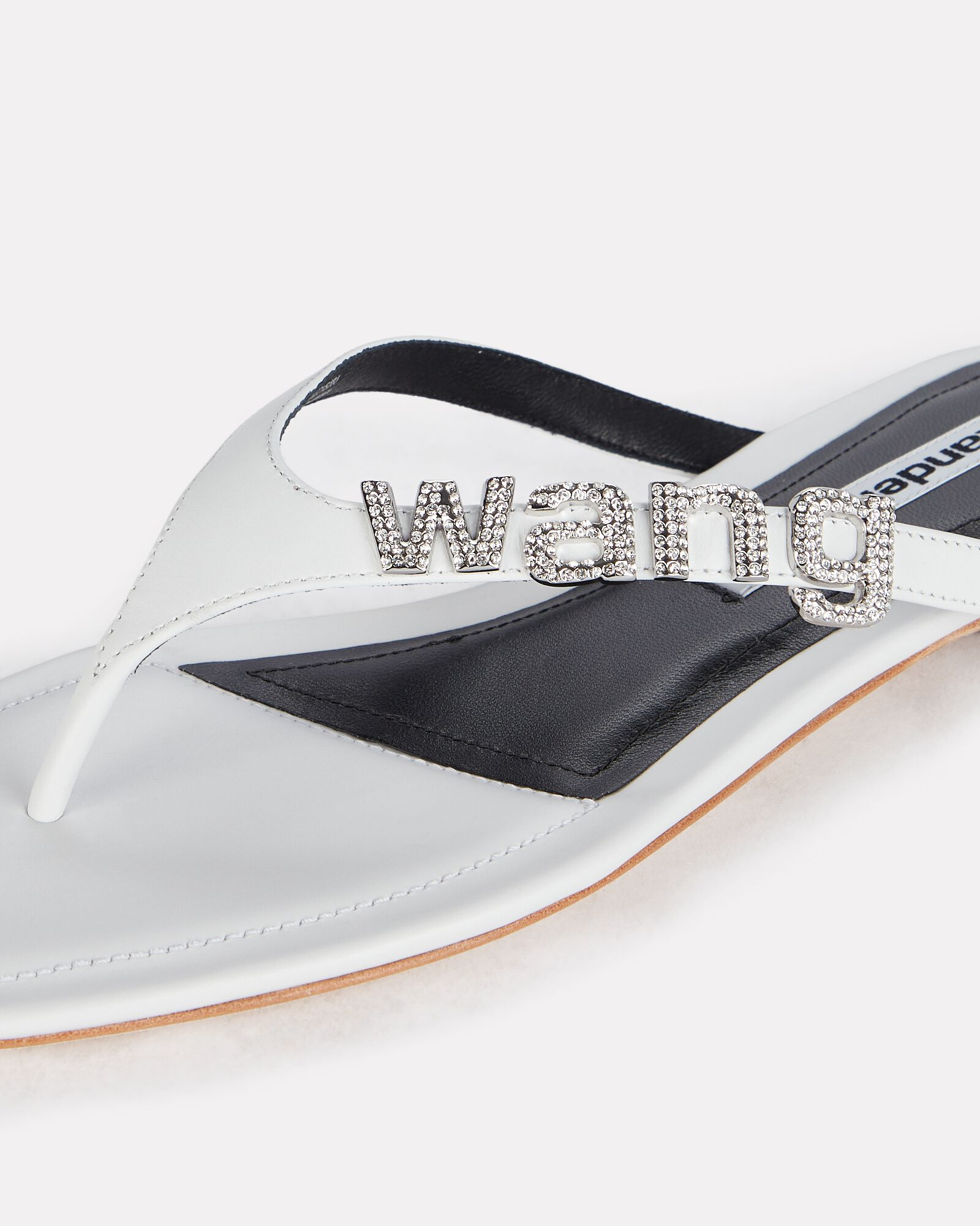 Ivy Logo Leather Thong Sandals, WHITE, hi-res
