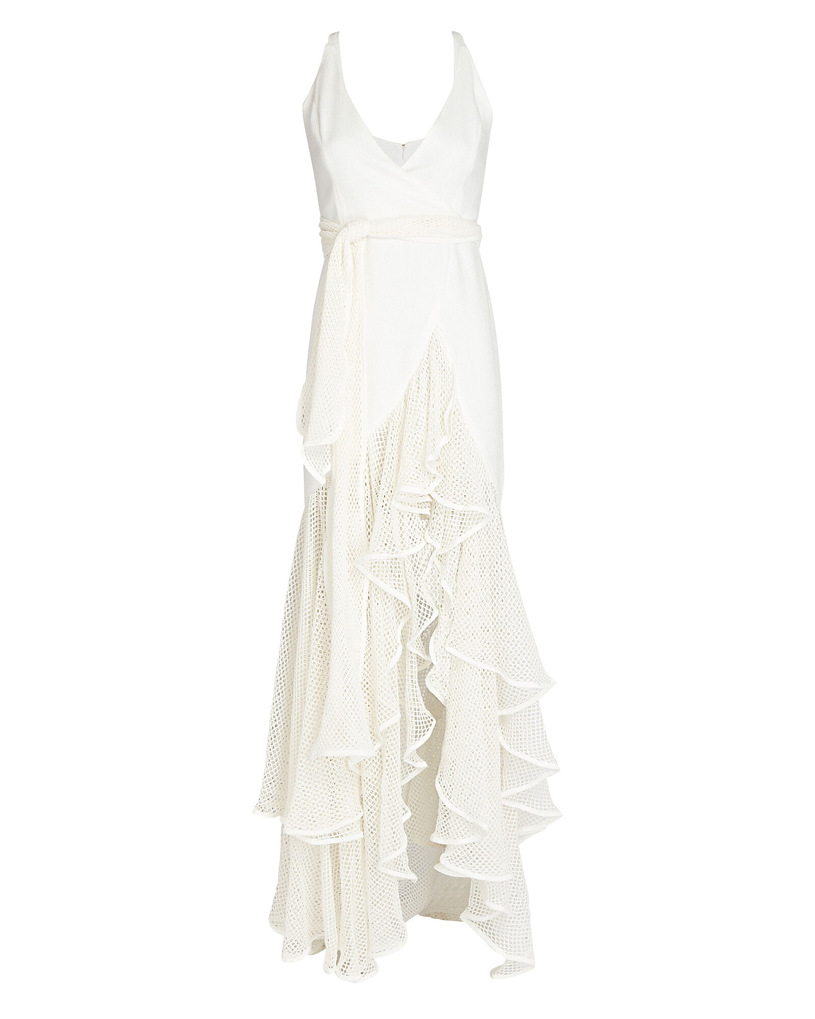 Ruffled Mesh Maxi Dress, WHITE, hi-res