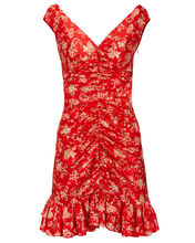 Silk Ruched Toile Dress, RED, hi-res