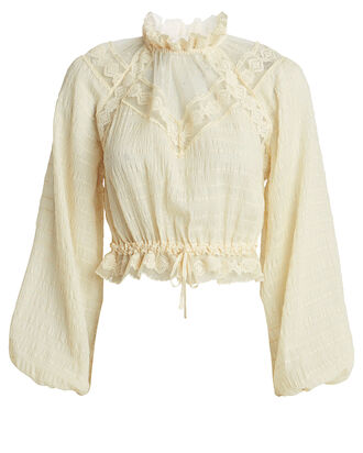 Sabotage Lace Yoke Blouse, PEARL, hi-res