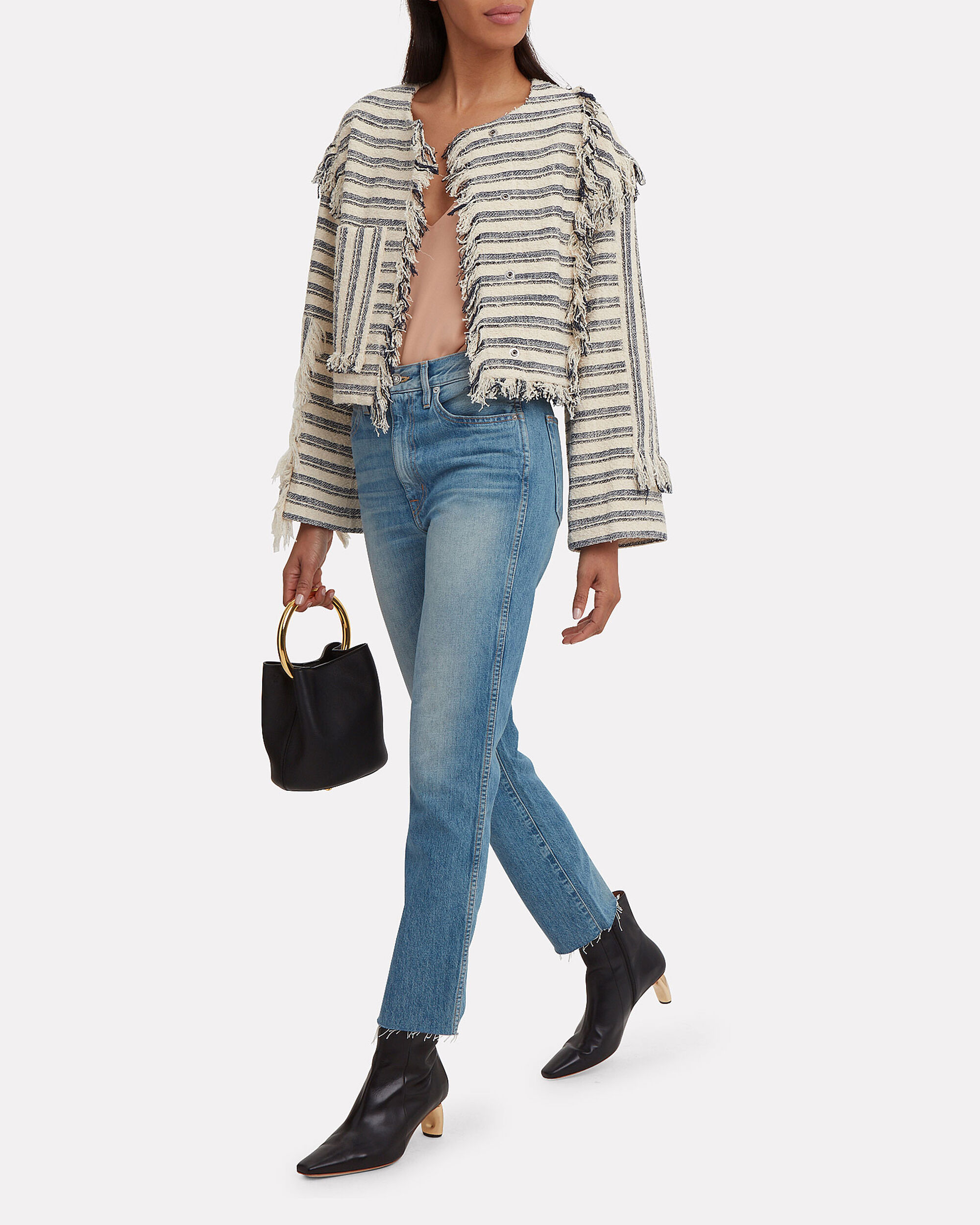 Fringe Knit Jacket, BEIGE/NAVY, hi-res