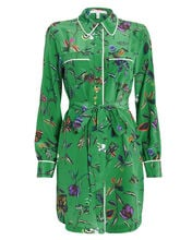 Floral Silk Crepe Shirt Dress, EMERALD/FLORAL, hi-res