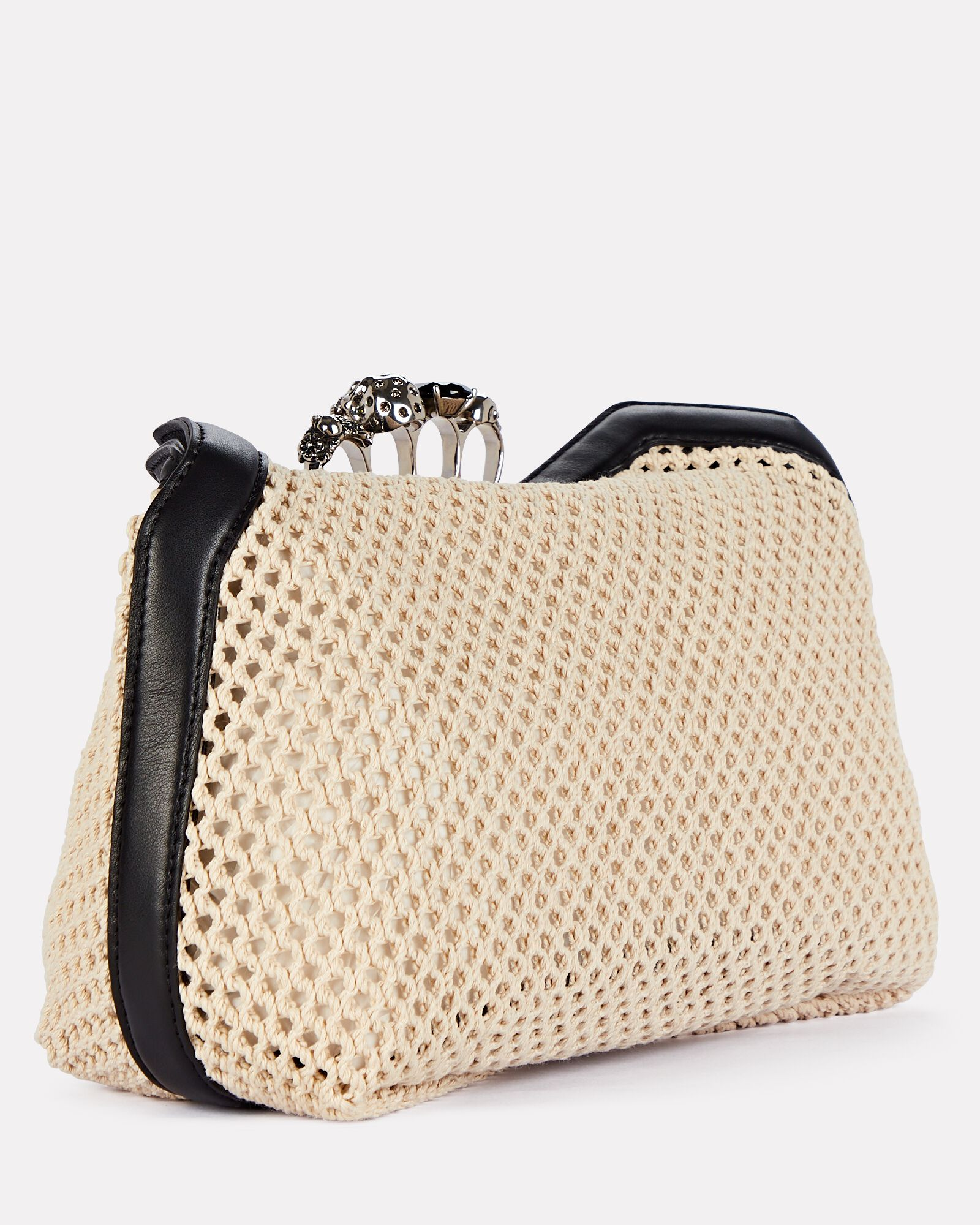 Skull Four Ring Mesh Pouch, BEIGE, hi-res