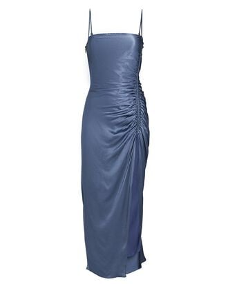 Lily Ruched Sleeveless Midi Dress, BLUE-MED, hi-res