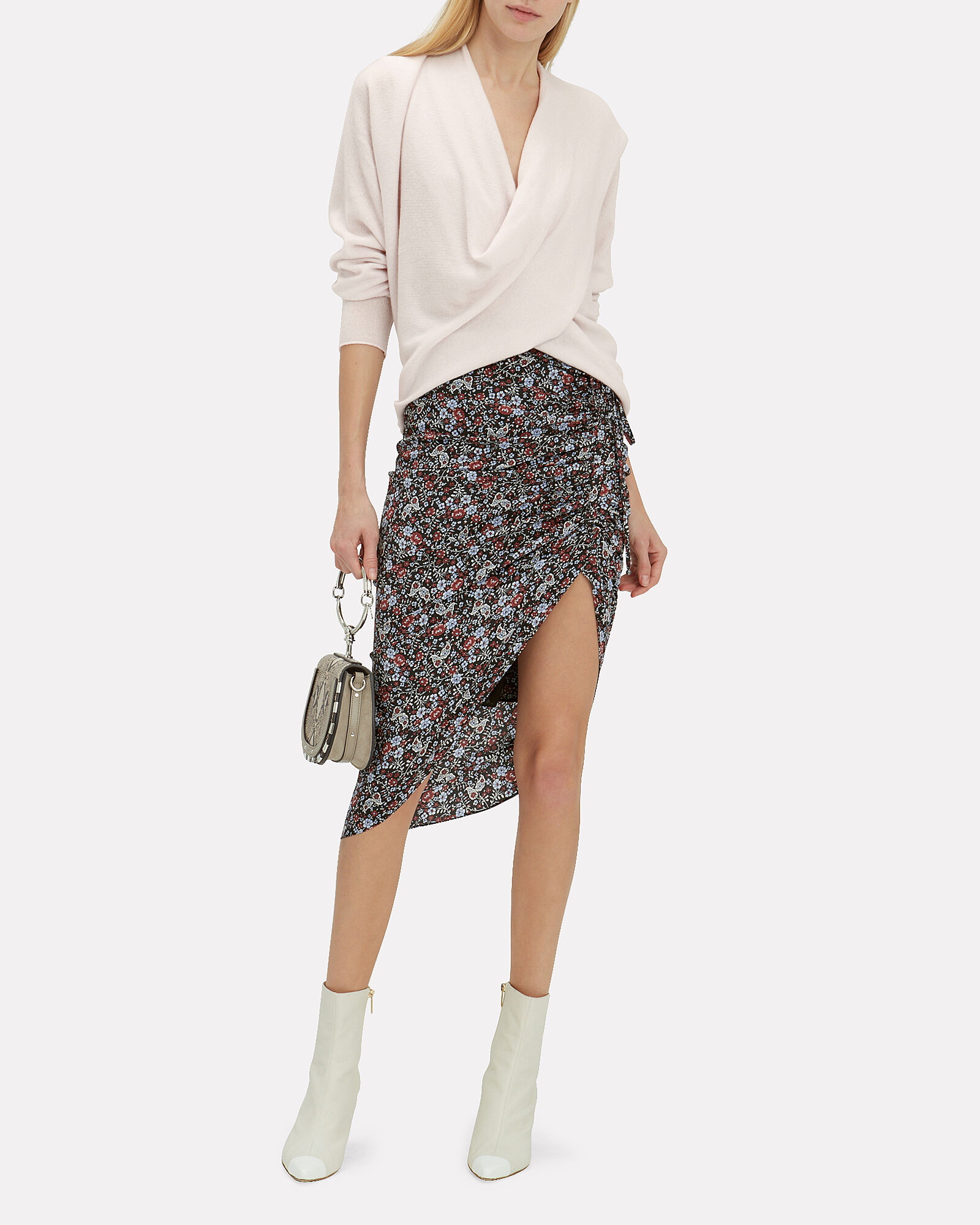 Ari Asymmetric Silk Skirt, BLACK/FLORAL, hi-res