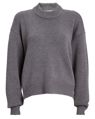 Zipper-Accented Wool Sweater, GREY, hi-res