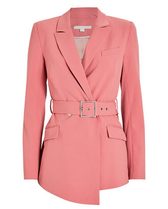 Tailored Wool-Blend Belted Blazer, BLUSH, hi-res