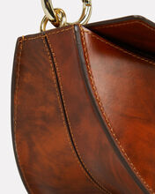 Doris Half Moon Leather Bag, BROWN, hi-res