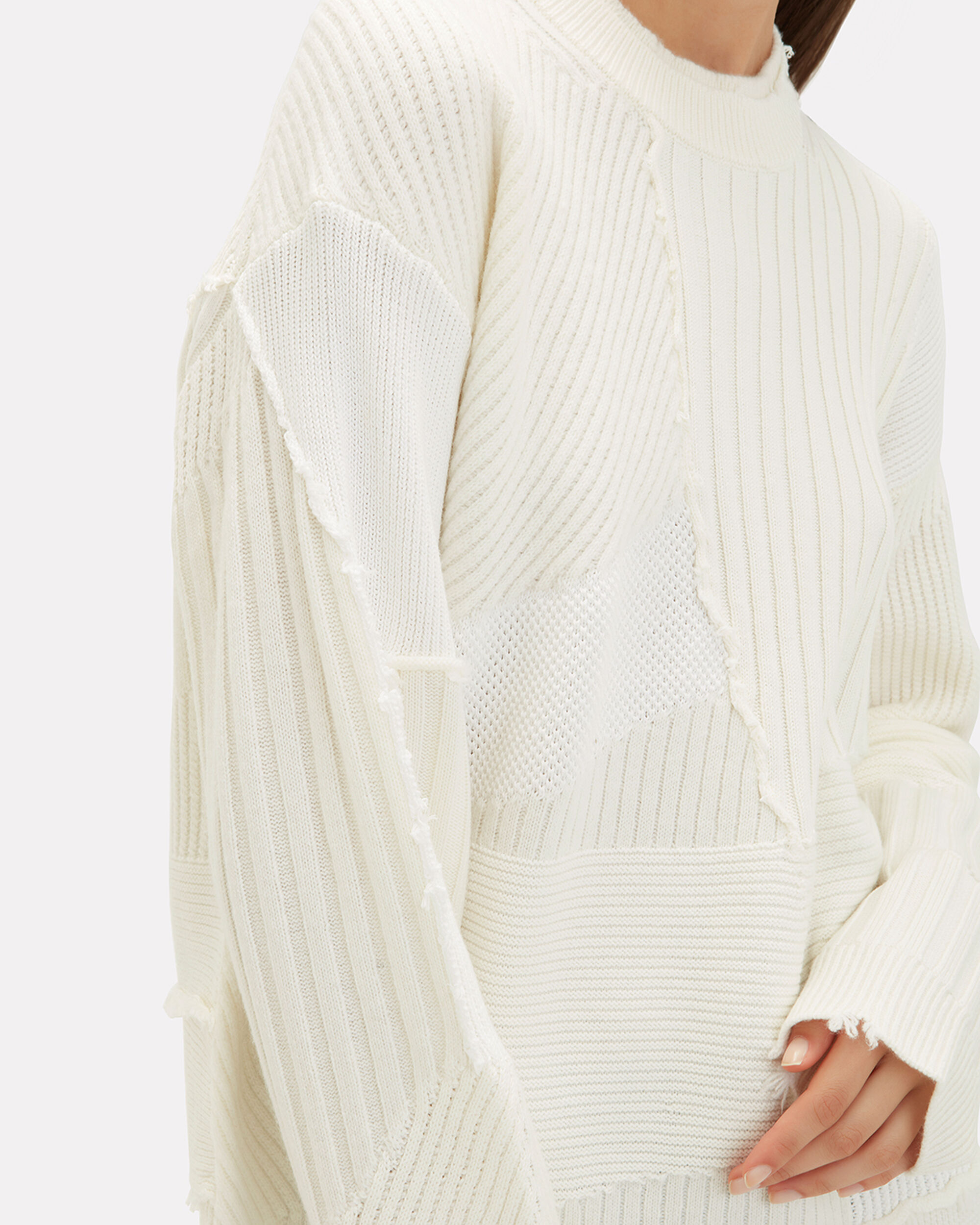 Patchwork Oversized Sweater, IVORY, hi-res